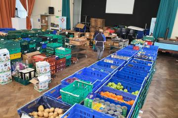 Image of boxes being prepared for Stockton residents during COVID