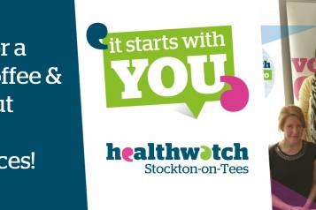 Graphic of people with Healthwatch Stockton logo