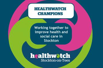 Graphic of Healthwatch Stockton Champions logo