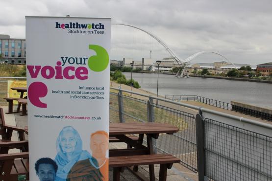 Healthwatch Stockton-on-Tees banner at Stockton Riverside